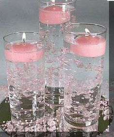 floating candles bead garland an inexpensive wedding centerpiece - Wedding Reception Table Decorations