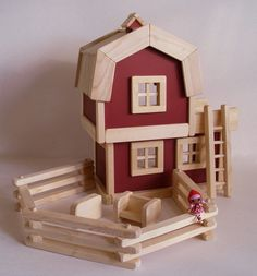 Wooden Mini Lalaloopsy-scale Barn, Toy Barn, Natural Wood Farm Play Set, Wood Toy, Brick Red, Country Decor, Waldorf, Jacobs Wooden Toys