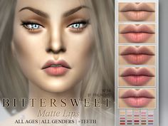 The Sims Resource: Bittersweet - Matte Lipstick 30 Colors by Pralinesims • Sims 4 Downloads