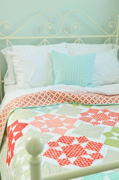 On a whim quilt- love Camille and Bonnie's fabrics and colors!  Dare I take this on for our king sized bed??.....