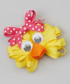 Yellow & Pink Polka Dot Chick Clip