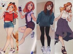Pick your fave! I like how my #OOTD drawings since last year have been like a dairy of both my looks and art, haha. These are all from this year, the third was in colder temperatures, obviously! #cyarine #cyarin