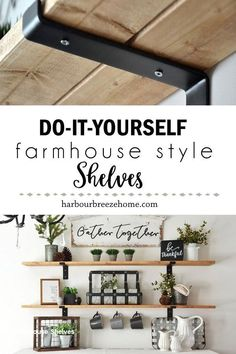 Learn how to make Fixer Upper style farmhouse shelves with this easy method. It will add Joanna Gaines' style into your home, and on a budget, too! Farmhouse Side Table, Farmhouse Decor, Farmhouse Style, Modern Farmhouse, Farmhouse Homes, French Farmhouse, Farmhouse Ideas, Rustic Decor, Joanna Gaines