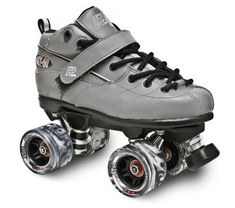 The GT-50 skate package features a synthetic leather boot, ROCK plate, GT-50 swirl wheels, ABEC -5 bearings, and a Carrera speed toe stop. Recreation skating and beginner roller derby. Sizes: Black SI