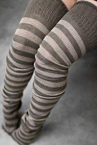 Dark Khaki & Mushroom rayon thigh-highs $12