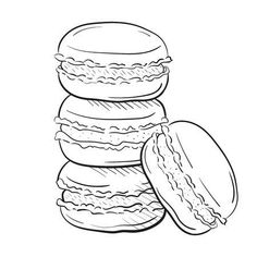 Illustration of macaroon cakes, vector illustration isolated on white background sketch style. Snack, pile of macarons. Clipart for a restaurant or cafe menu. Line art. vector art, clipart and stock vectors. Cool Art Drawings, Pencil Art Drawings, Easy Drawings, Art Sketches, Cake Sketch, Food Sketch, Cake Drawing, Food Drawing, Cake Illustration