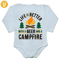 Life Is Better With A Bear And A Campfire Baby Long Sleeve Romper Bodysuit Small - Baby bodys baby einteiler baby stampler (*Partner-Link)