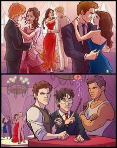 Harry Potter, The Hunger Games, Twilight, but Hermione didn't go with Ron to the ball! Harry Potter Humor, Fans D'harry Potter, Harry Potter Fan Art, Hunger Games Memes, The Hunger Games, Desenhos Harry Potter, Fandom Crossover, Book Memes, Hogwarts