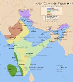 India Climatic Zone Map: 2000x2260 px - 247.21875k - png