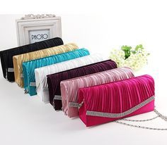 Showstopper Evening Clutch - Ruffled Satin, Bling Border Purse in Assorted Colors
