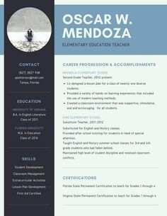 Artsy Resume Templates Elementary Teacher Resume Template For Word & Pages 1  3 Pages