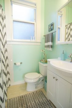 Chevron Shower Curtain and mint walls