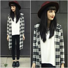 Tartan long cardigan. Monochrome outfit. In Love With Fashion Black And White Tartan Jacket, Black Five Clothing White Tshirt