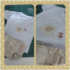 Tapa fralda em tricoline, blusa malha com aplicaçao
