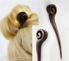 Spiral Wizard Wand Sono Wood Hair Stick #hairsticks #wizard #wood