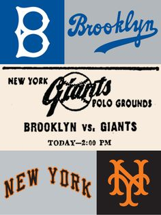 Script/lettering/logos from New York-based professional baseball teams of yore.