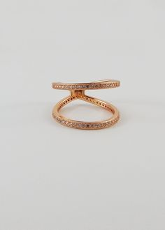 Melanie Auld Rose Gold Pave Two Tier Ring