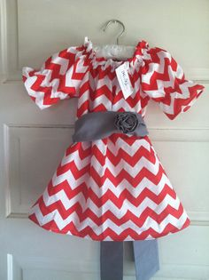 Girls Christmas dress chevron Christmas dress red by haddygrace,