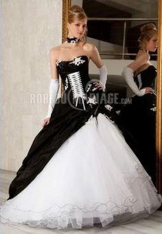 Robe de mariée noire sirène en taffetastulle fleur broderie