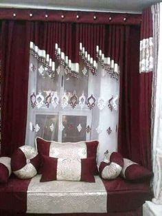 Bed Decor, Bed Cover Design, Home Curtains, Red Living Room Decor, Stylish Curtains, Curtains And Draperies, Drawing Room Interior Design, Curtain Decor, Drawing Room Interior