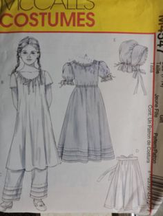 Items similar to Early American Dress Chemise Bonnet Historical Costume Stage Play Children Outfit McCall's 4547 PATTERN Sz. 7 - 14 on Etsy American Dress, Early American, Halloween Costume Patterns, Halloween Costumes, Cool Patterns, Stitch Patterns, Stage Play, Historical Costume, Kids Outfits