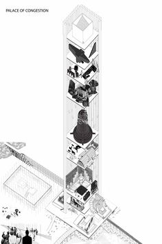 Drawing Architectural The 80 Best Architecture Drawings of 2017 (So Far),© Natali Bezarashvili - Image 33 of 81 from gallery of The 80 Best Architecture Drawings of 2017 (So Far). Architecture Graphics, Architecture Drawings, School Architecture, Architecture Design, Architecture Model Making, Amazing Architecture, Sketch Quotes, Axonometric Drawing, Painted Books