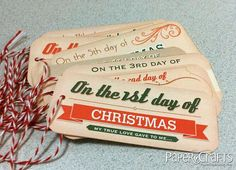 CHRISTMAS - 12 Days of Christmas Tags - free printable. Would be great to go on the christmas books for each night.
