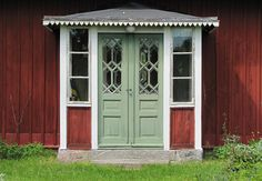 Photo by Torgil Jarnling Swedish Cottage, Cozy Cottage, Old Doors, Windows And Doors, Porches, Sweden House, Red Houses, Scandinavian Home, Beautiful Buildings