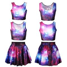 7aa6f8e2752 EAST KNITTING 2014 NEW 2 piece set women skirt top cropped clothing sport  suit women Galaxy Space printed brand punk dress