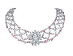 Golconda Lotus #Necklace by Nirav Modi http://www.NiravModi.com/#/about/rare-pieces/golconda-lotus-necklace/ made w/ white & pink doamonds (even the links are diamonds) sold for US$3.6 million at Christie's in 2010.