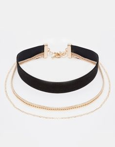 Enlarge River Island Velvet And Chain Multirow Choker Necklace