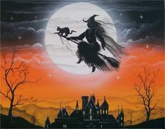 #Halloween Art. Flying witch on a broom in a full moon