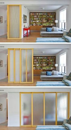 29 sneaky tips for small space living - install sliding walls! (for privacy while maintaining an open feel) Room Divider functional room dividers (for small spaces!) 29 Sneaky Tips & Hacks For Small Space Living High Gloss Rolling Doors for MyInstall slid Diy Casa, Small Space Living, Small Rooms, Small Living Room Ideas With Tv, Kids Rooms, Small Apartments, Interior Design Living Room, Design Interiors, Life Hacks