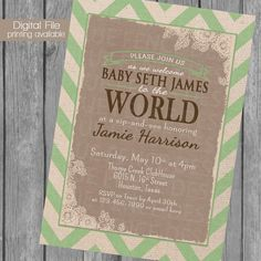 vintage sip n see baby shower  invitations, gender neutral shower invite, boy shower, girl shower, shabby chic, chevron on Etsy, $12.50