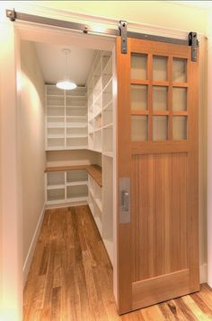 kitchen pantry design If you have a pantry cabinet, you really want to make the most of every square inch because without space saving pantry organizers, you will never have enoug Walk In Pantry, Pantry Doors, Closet Doors, Small Walk In Closet Ideas, Small Walk In Wardrobe, Entry Closet, Room Doors, Walkin Pantry Ideas, Small Walking Closet