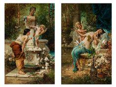 """Gemäldepaar """"BESTRAFTER ÜBERMUT"""" sowie """"BESIEGT"""" Öl auf Holz. 58 x 38 cm. Links signiert. Eines der Bilder enthält einen Aufkleber mit..."""