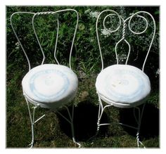 ANTIQUE ICE CREAM PARLOR STOOLS 2 CHAIRS MATCHING FLOUR SACK SEATS WROUGHT IRON