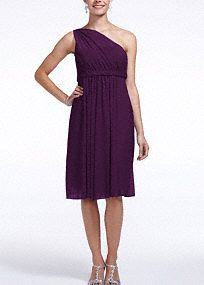 Aflawless shortand chic bridesmaid dress that has lots of wear again potential!  One shoulder bodice features illusion neckline.  Soft mesh skirt is comfortable and easy to move in.  Fully lined. Back zip. Imported polyester. Dry clean.  To protect your dress, try our Non Woven Garment Bag.