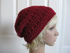 Crochet Slouch Beanie HatRed by RoseJasmine on Etsy, $22.00