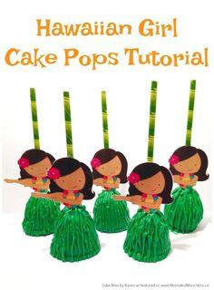 Hawaiian Girl Cake Pop Tutorial - a great dessert idea for a Luau or summer party! Hawaiian Girls, Hawaiian Luau Party, Hawaiian Birthday, Luau Birthday, Birthday Ideas, Hawaiin Party Food, Aloha Party, Hawaiian Theme, Tiki Party