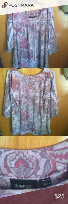 Avenue   Floral Top Perfect condition! Purple top with different colored flowers. Women's size 14/16. Sleeves are 3/4 length. Super comfortable! Avenue Tops Blouses
