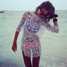 Dress: swimwear beach cover up lace sunglasses blue pink clothes clothing white lace white