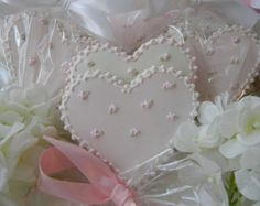 Pink and White Wedding Heart Sugar Cookie Favors or Gift Box