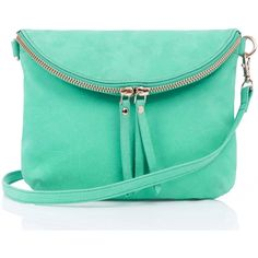 OASIS Leather Clover X Body ($19) ❤ liked on Polyvore featuring bags, handbags, shoulder bags, purses, accessories, bolsas, shoes, green, leather shoulder bag and genuine leather handbags