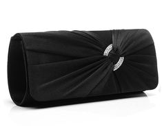 9679c507c Jubileens Satin Diamante Pleated Evening Clutch Bag Bridal Handbag Prom  Purse (Black): Handbags: Amazon.com. CartonagemCarteiraBolsas ...