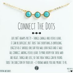 Bryan Anthonys Dainty Connect the Dots Turquoise Necklace. Perfect simple Necklace for layering. Three gemstones are elegantly connected by gleaming linear metal. Wear this necklace as a reminder that everything happens for a reason — one day it will all connect. Simple jewelry with meaning.