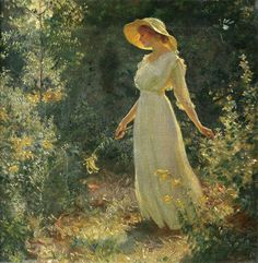 Woman in a White Dress in a Garden, Charles Courtney Curran