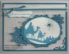 HSS Monochromatic Challenge #82 by Diane Vander Galien - Cards and Paper Crafts at Splitcoaststampers Stamps: Come to Bethlehem Paper: white, marina mist Ink: marina mist Accessories: big shot- northern flurry embossing folder, northern frost die, oval die- Punches- decorative label, 2 3/8 scallop circle, scallop trim corner, accents- rhinestones, white ribbon, marina mist 1/8 ribbon, paper piercer Techniques: basic stamping