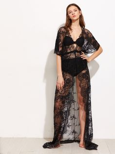 Floral Eyelash Lace Scallop Trim Cover Up -SheIn(Sheinside)