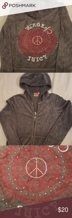 "Juicy Couture ""The AGE of JUICY"" Charcoal Grey Juicy Couture ""The AGE of JUICY"" Charcoal Grey Track Medium Zip up Jacket very comfortable.  I have been Gently loved and looking for my new forever POSH home..  18"" PIT to PIT 22"" Length  22"" Shoulder to Cuff Juicy Couture Jackets & Coats"